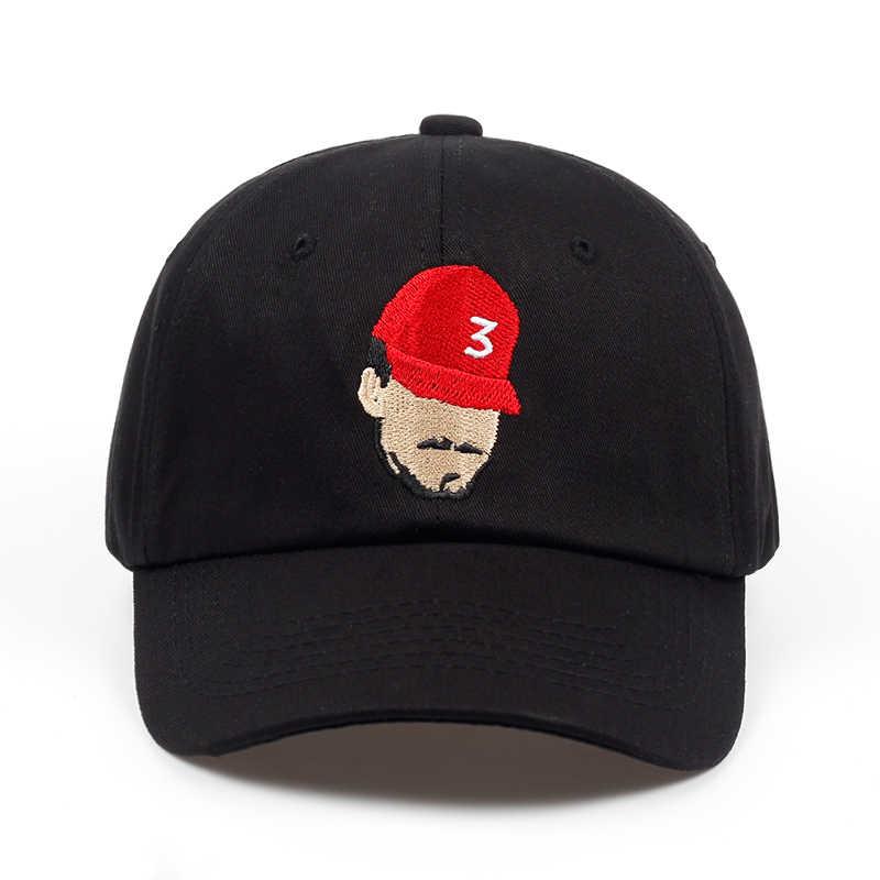 New Popular Chance The Rapper 3 Dad Hat Cap Black Embroidery Baseball Cap  Hip Hop Streetwear 00806b3ca4a4