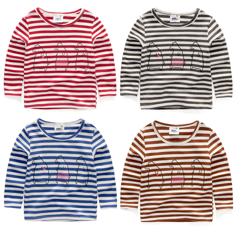 Baby stripe o-neck t-shirts 2016 spring and autumn girls boys t shirts cartoon bear child long-sleeve T-shirt 100% cotton