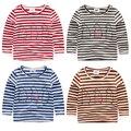 Baby stripe o-neck t-shirts 2017 spring and autumn girls boys t shirts cartoon bear child long-sleeve T-shirt 100% cotton
