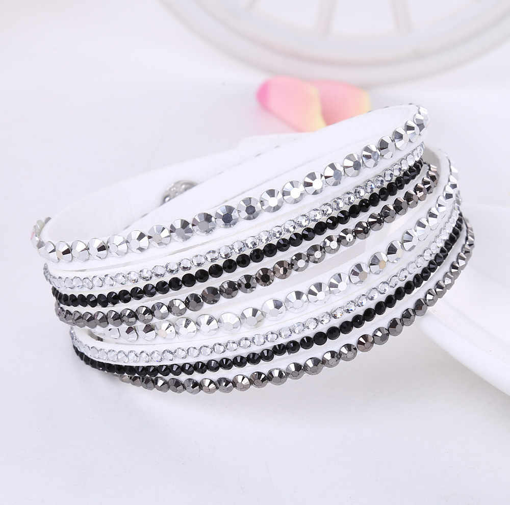 2016 Nieuwe Lederen Armband Rhinestone Crystal Armband Wrap Multilayer Armbanden voor vrouwen feminino pulseras mulher Sieraden
