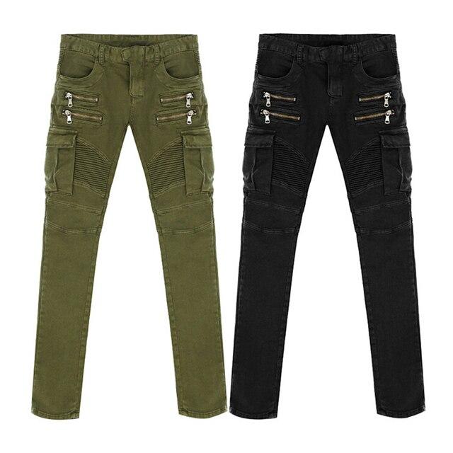 Green Black Denim Biker jeans Mens Skinny 2015 Runway Distressed slim elastic jeans hiphop Washed 2