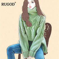 RUGOD New Korean Turtleneck Sweaters Long Sleeve Thick Knit Pullover Sweater Women 2018 Autumn Winter Solid Knitted Jumper Tops