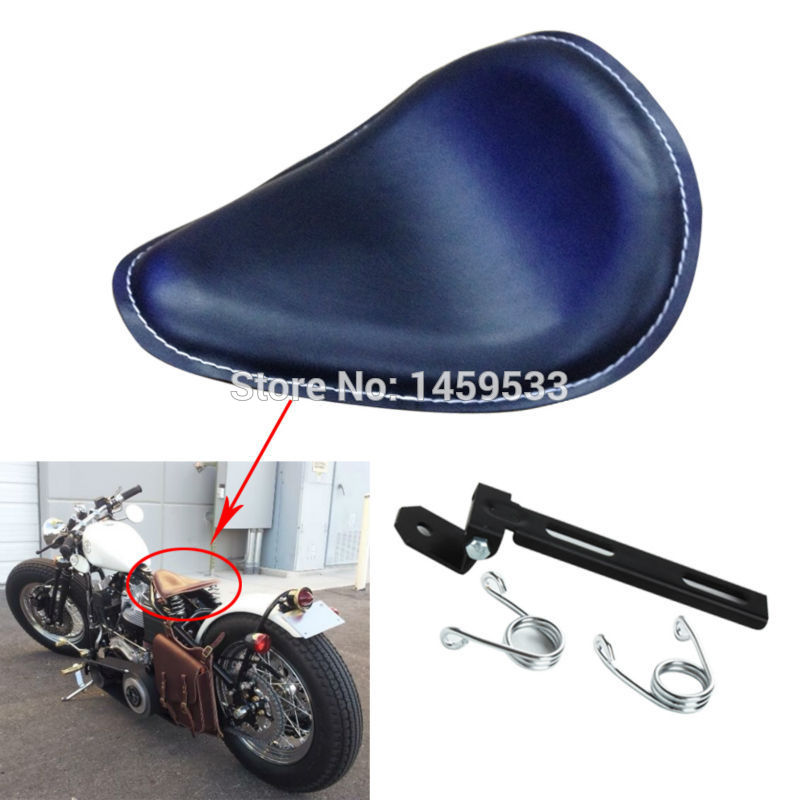 все цены на New Black Leather White Stitch With Solo Torsion Springs Seat Black Brackets Solo Seat Fits For Harley Chopper Bobber Custom онлайн