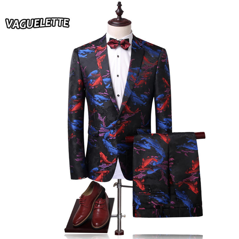 Stylish Printed Men Suit Slim Fit Koi Fish Pattern Chinese Style Stage Wear Vintage Mens Suits With Pants M 4XL (Blazer+Pants)
