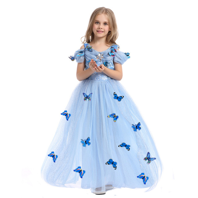 Girl Wedding/Party Long Dress Children Blue Cinderella Costumes Halloween/Christmas  Outfits Kids Summer - Girl Wedding/Party Long Dress Children Blue Cinderella Costumes