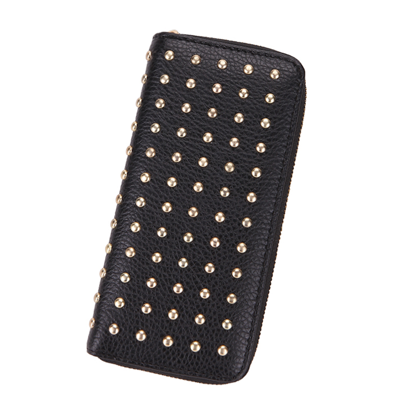 Women Wallet Female Purse Leather Long Rivet Money Pocket Card Coin Holder Wallets Luxury Designer Phone Dollar Price Purses billetera sailor moon