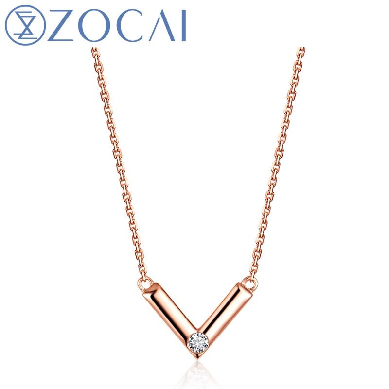ZOCAI 18 K or Rose (AU750) véritable 0.03 CT diamant femmes collier D04894