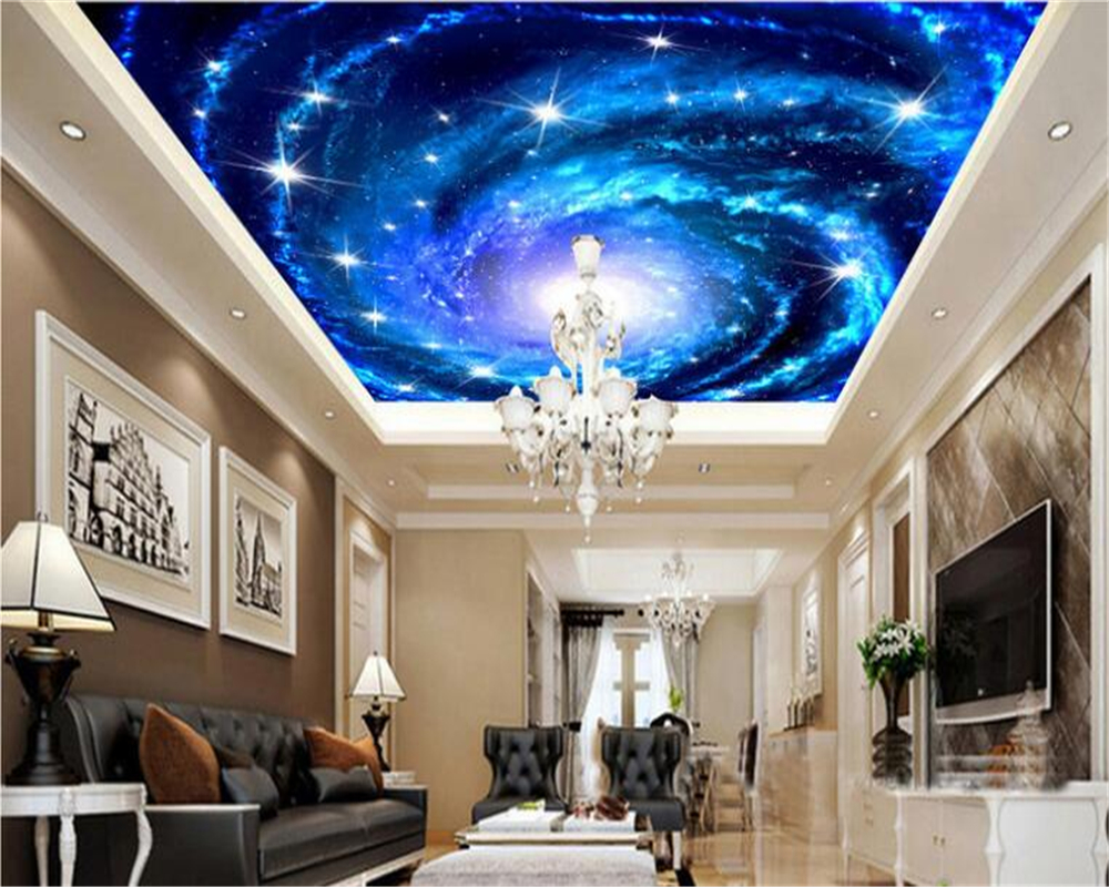 Beibehang Large Custom Wallpaper Dream Galaxy Star Sky Ceiling Mural 3D Living Room Bedroom Ceiling Wallpaper