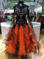 GOODANPAR New Backless Black Lure Ballroom Dance Dress Women Girls With Bodysuit Bra Cups Ribbon Waltz Competition Dance Wear
