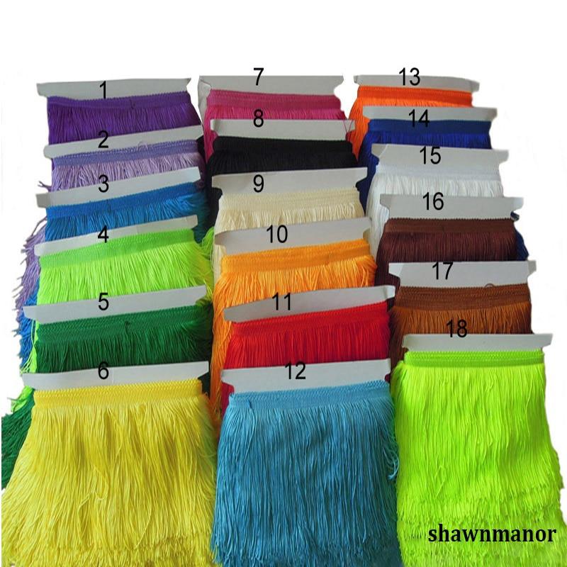 10 yardas por lote 15 CM Ancho Borla decorativa Borde de encaje de poliéster para el vestido latino Accesorios de disfraces 21 colores disponibles