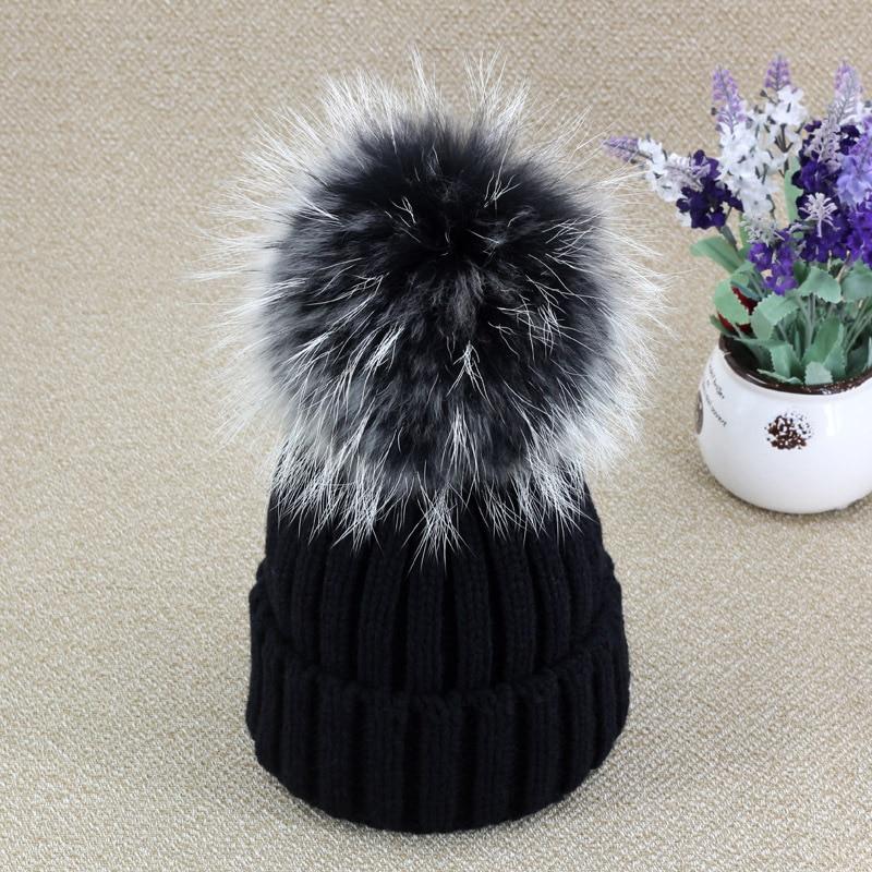 Hot New Fox Fur Velvet Knitted Hat Women Pom Poms Winter Hat For Women Hat Fashion Warm Skullies Beanies Female Cap