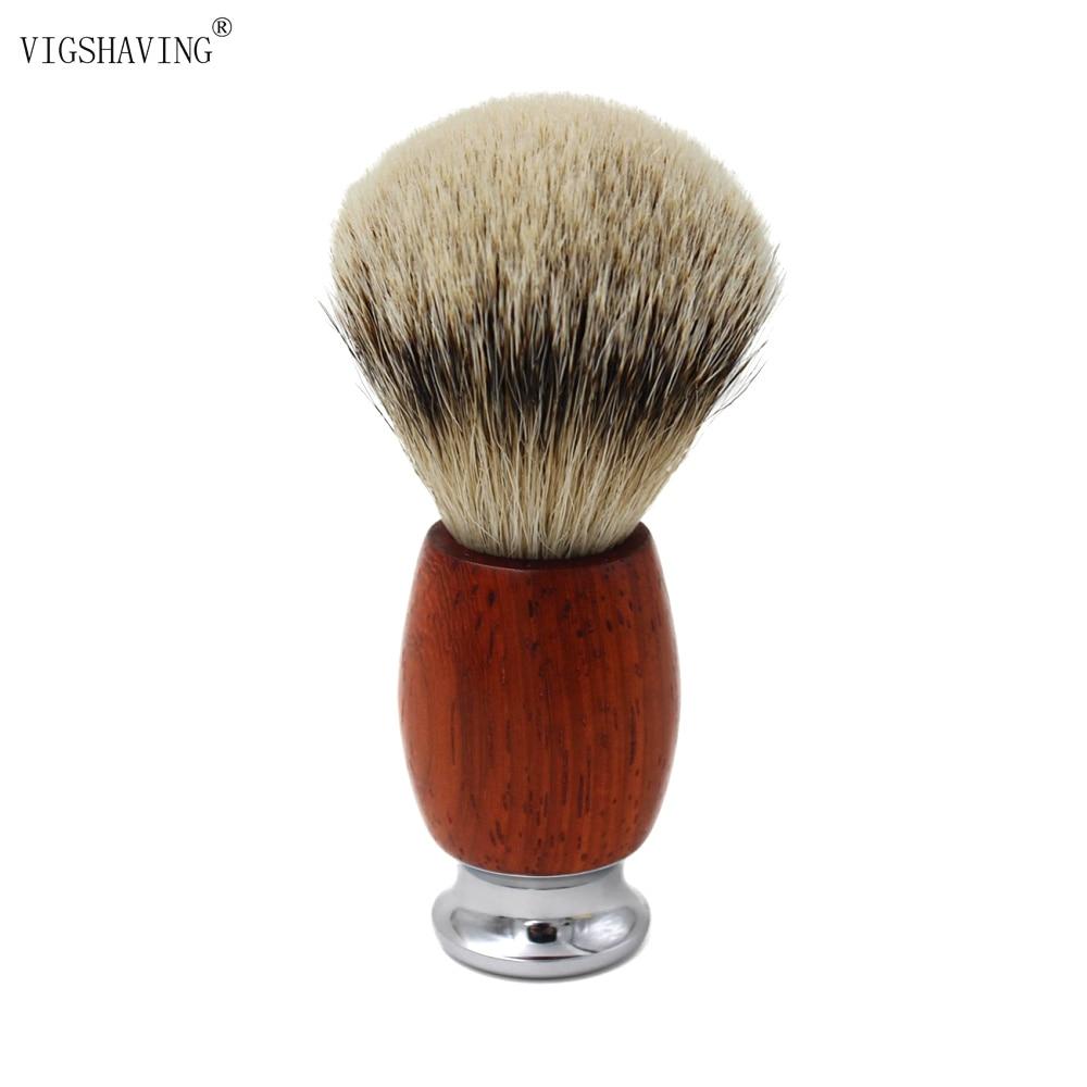 VIGSHAVING Wood Handle Silvertip Badger hair Men Shaving Brush