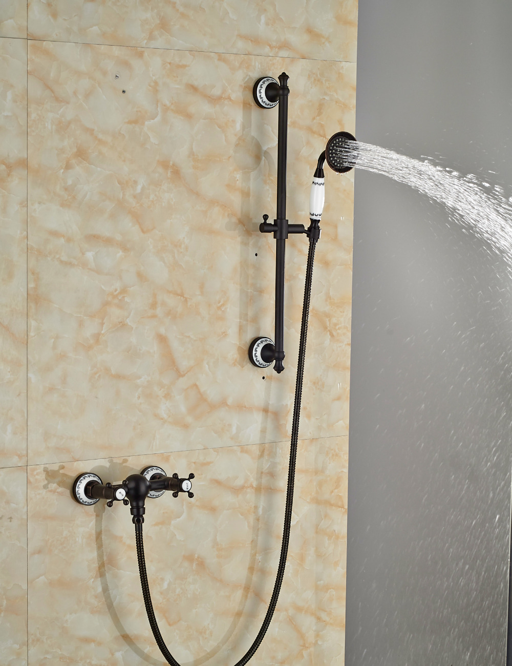 Wholesale And Retail Solid Brass Oil Rubbed Bronze Bathroom Tub Faucet Valve Mixer Tap W/ Hand Shower Sprayer
