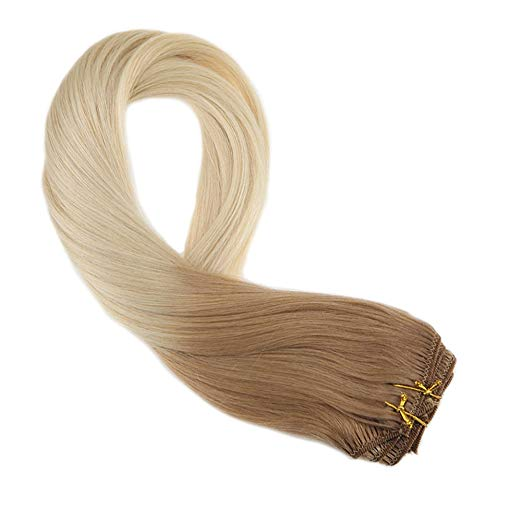 Moresoo Clip In Hair Extensions 100% Remy Human Clip In Hair Double Weft Full Head Extension Ombre Color #12/60 7PCS 100G