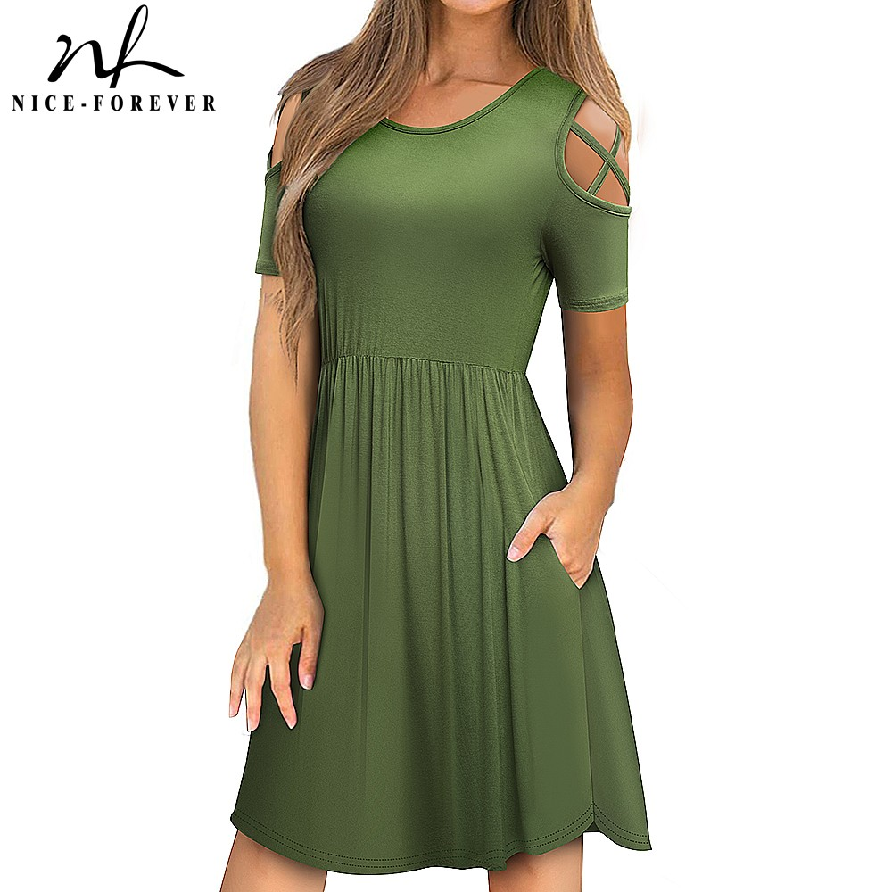 Nice-forever Women Casual Solid Color A-line Vestidos Swing Party Flare Female Dress A163