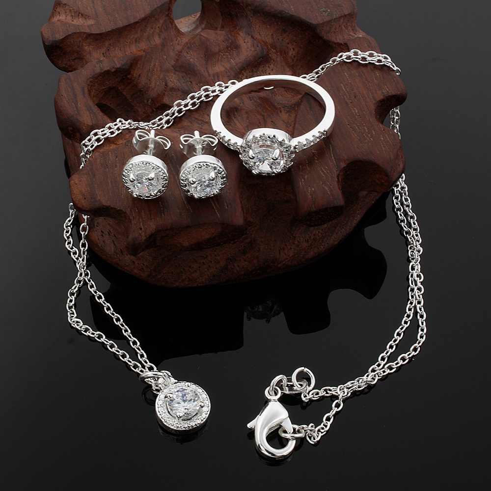 คริสต์มาสของขวัญ Noble เงินแฟชั่นผู้หญิงคลาสสิกคริสตัล CZ สร้อยคอแหวนต่างหูชุดเครื่องประดับ