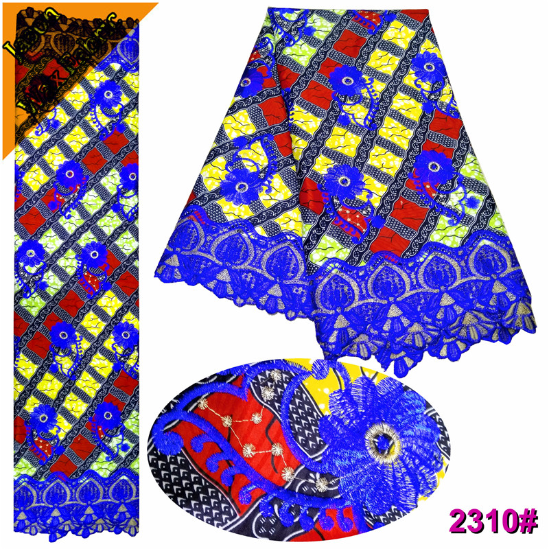 High Quality Polyester Embroidered Ankara Lace Fabric /Latest African Guipure Wax Fabric Nigerian Prints Wax Lace / LBL