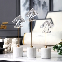 Transparent Crystal Horse Head Ornament Home Decor Crafts White Marble Base Office Statues Accessories Wedding Gift Figurines