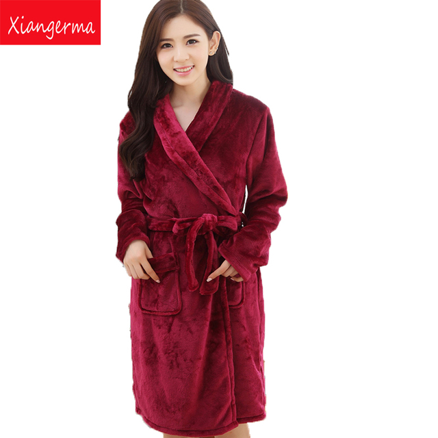 e7d353e61a Xiangerma Ms. Autumn Winter Flannel Nightgown Bathrobe Coral Velvet Robe  Thick Warm Coat Long Paragraph Tracksuit. Price