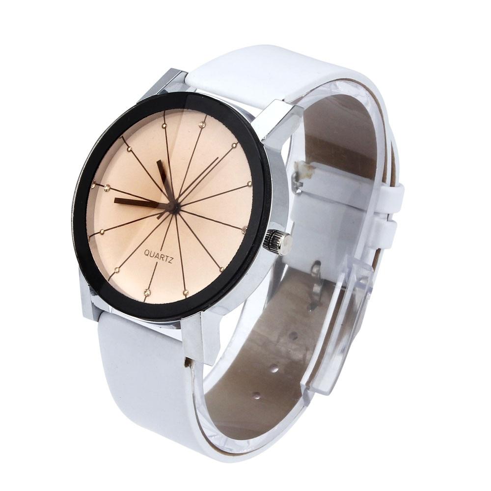 2018 Baru Kedatangan Pria Kuarsa Dial Jam Kulit Wrist Watch Putaran - Jam tangan wanita - Foto 2