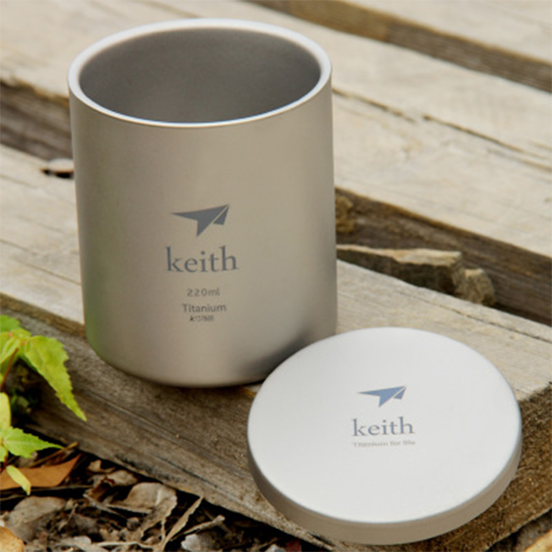 Keith 220ml Cup Titanium Double-wall Mug With Lid Water Glass Anti-acid No Scale Drinkware Mugs For Camping Hiking Ti3301 keith double wall titanium insulated mug with titanium lid water mugs folding handle outdoor camping travel tableware utensils