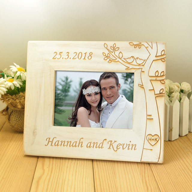 Online Shop Personalized Wedding photo frame, Wooden Wedding Couple ...