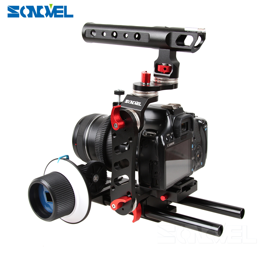 Sonovel DSLR Video Film Stabilizer 15mm Rod Rig Video Camrea Cage+<font><b>Top</b></font> Handle Grip+<font><b>Follow</b></font> Focus+Matte Box For Sony Canon Pentax image