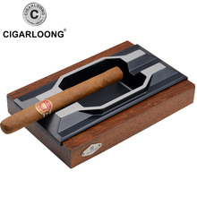 Cigarloong cigar ashtray metal Large slot personality solid wood