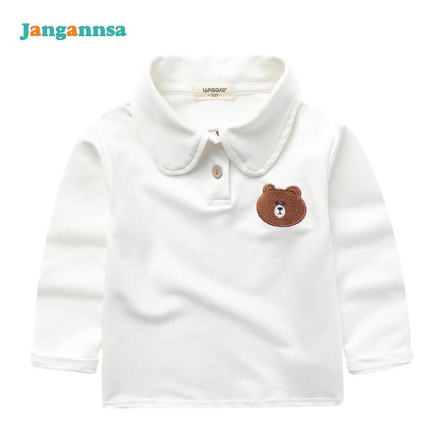 Nuevos Niños Camisetas Solid Camisa de Manga Larga Niños Niñas Oso Bordado Boy Ropa de Algodón Camiseta de La Muchacha Ropa Para Niños de Moda