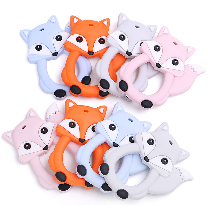 1 PC New Fox Animal Baby Teethers Food Grade Silicone Bijtring Baby Teething Charm Pacifier Chain Baby Fox Teether Accessories