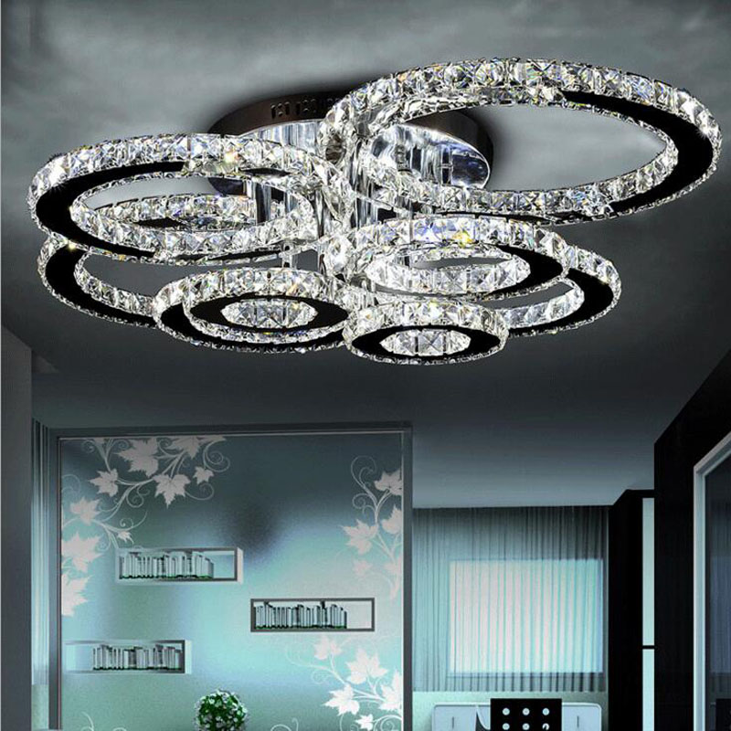 все цены на led ceiling lamp modern simple bedroom lights stainless steel wire cut led living room crystal ceiling lamp crystal chandelier