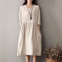 2018 Autumn New Cotton Linen Dress Female Three Quarter Kawai O neck Big Pockets Pleated Single Breasted Knee Length Gown