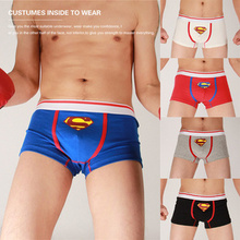Hot Selling! 2PCS/LOT Fashion Designer Sexy Men's Soft Cotton Superman Man Boxer Shorts Pants Underwear Cosply Male Sexy Panties