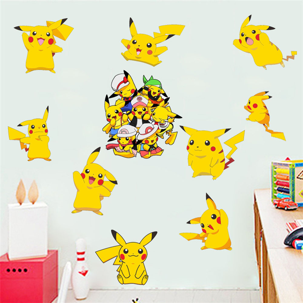 popular pokemon wall decals buy cheap pokemon wall decals lots 3d pokemon kids bedroom wall decor stickers removable children wall decals home decor self adhesive