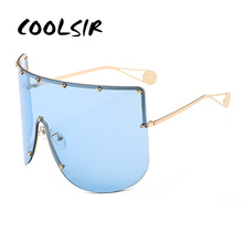 COOLSIR Girl Fashion Oversized Goggle Sunglasses Women Brand Designer Vintage Sun Glasses Men Pentagram Female Male Shades