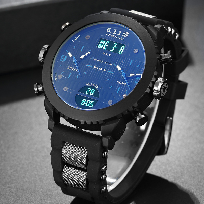 6.11 New Quartz Men Wristwatches Quartz Black Led Digital Sport Watch Men Sport Mens Watch Relogio Masculino цена