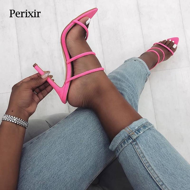 Perixir 2019 Summer New Shoes Woman Lycra fluorescent Mules glitter Peep toe Slides High heel Slippers Slip on Fashion Sandals