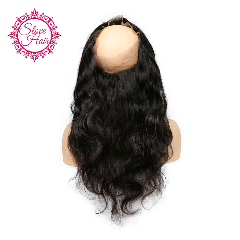 Slove Hair 360 Lace Frontal Closure Brazilian Body Wave Closure Free Part Remy Human Hair Pre Plucked Baby Hair For Black Women(China (Mainland))