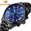BINSSAW Authentic Original Brand Men S Luxury Quartz Sapphire Stainless Steel Fashion Leather Waterproof Luminous Sports