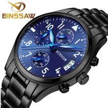 Binssaw auténtico Original de la marca hombres cuarzo de lujo de acero inoxidable zafiro moda de cuero impermeable relojes deportivos luminosos