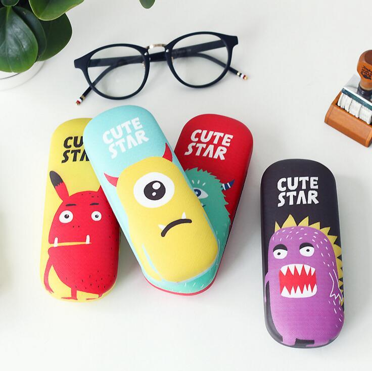 Novelty Cute Monster Star PU Glasses Case Desktop Storage Box School Office Supply Gift Stationery цена
