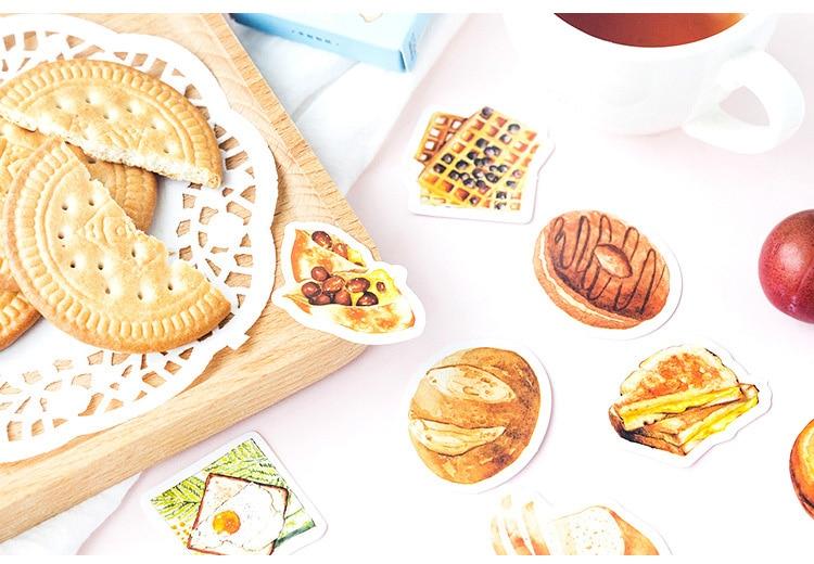 Купить с кэшбэком 46PCS/ PACK Kawaii Cute Bread Cake Donut Sticker Marker Planner Diary Stationery Stickers Scrapbooking Bullet Journal sl1449