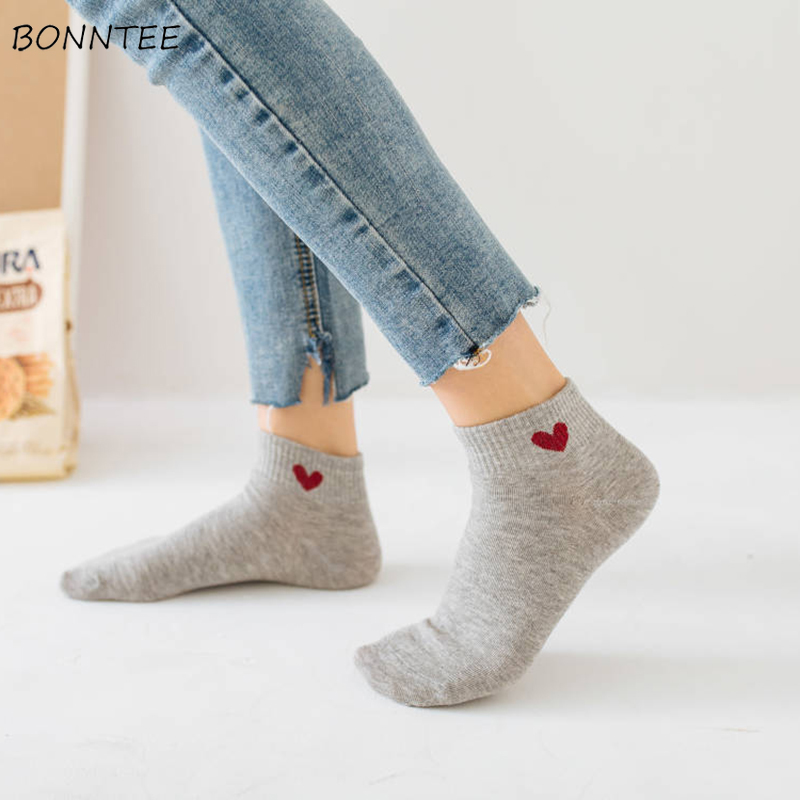 Socks Women Leisure Printed Heart Sweet Kawaii Lovely Womens Korean Style Trendy Casual Female High Elasticity Sock 2020 Chic