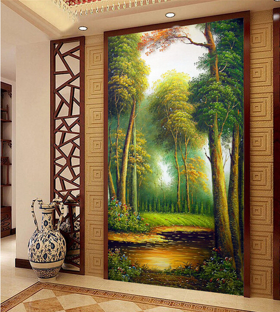 120x240cm Home Decorative Wall Decor Silk Wallpaper Autumn Leaves Forest Murals Oil Style Mural Painting Art