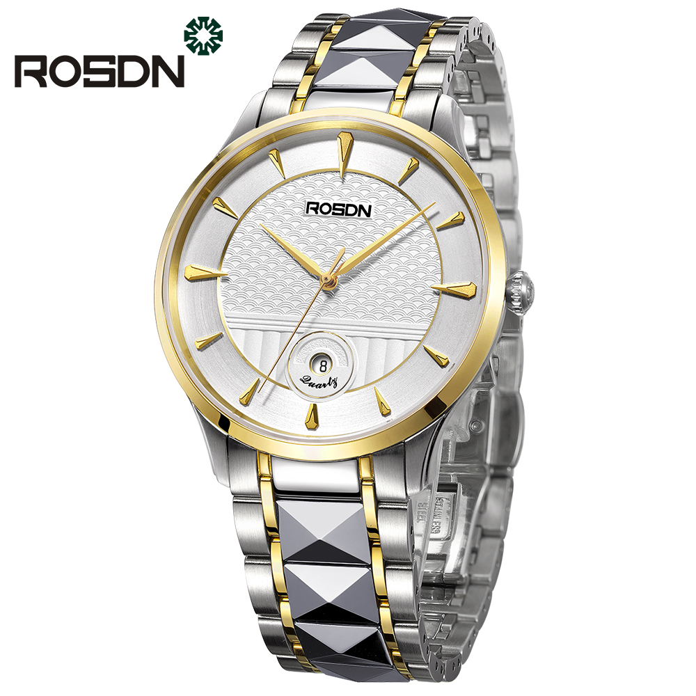 ROSDN Top Luxury Watch Men Brand Mens Watches Stainless Steel Band Women Watches Fashion Casual wrist watch Wedding Couple Watch