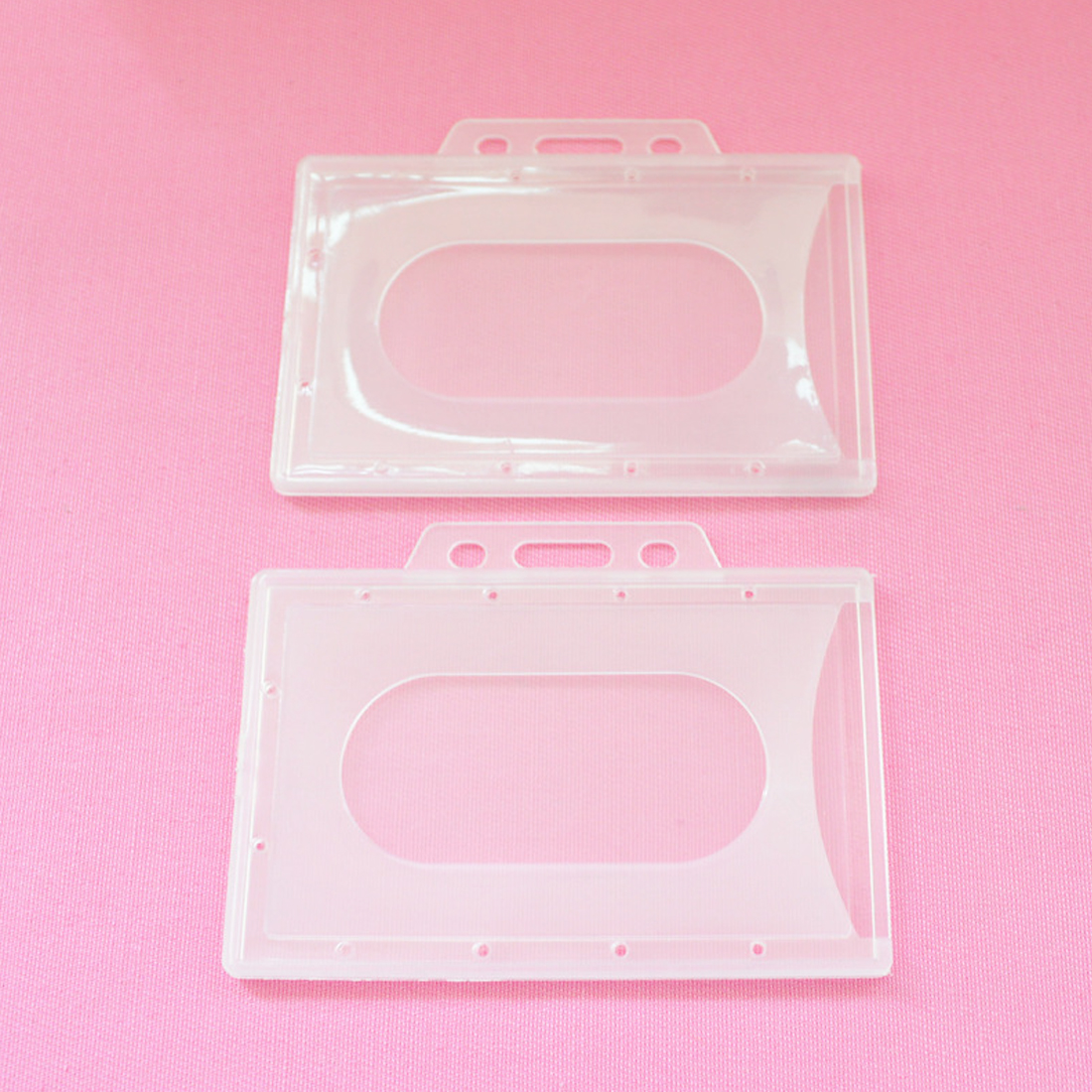 1pcs 90*66mm Plastic Badge Holder Hard Card Transparent Vertical Hard Plastic Multi Card ID Badge Holder Credit Cover