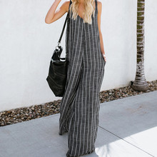 2019 Feitong Rompers Womens Jumpsuit Sexy  V-Neck Casual Loose Striped Playsuits Summer Overalls Women 7.15