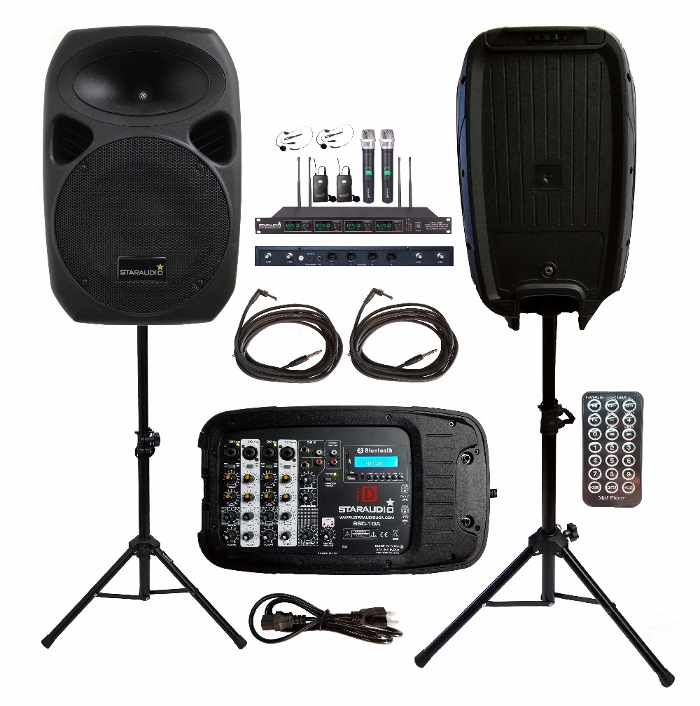 buy pair staraudio 1500w 10 usb bt pa dj speakers party stage with 4ch vhf. Black Bedroom Furniture Sets. Home Design Ideas