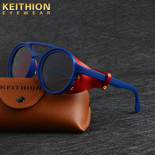 KEITHION Brand Designer Steampunk Men Women Retro Round Sunglasses 2019 Fashion