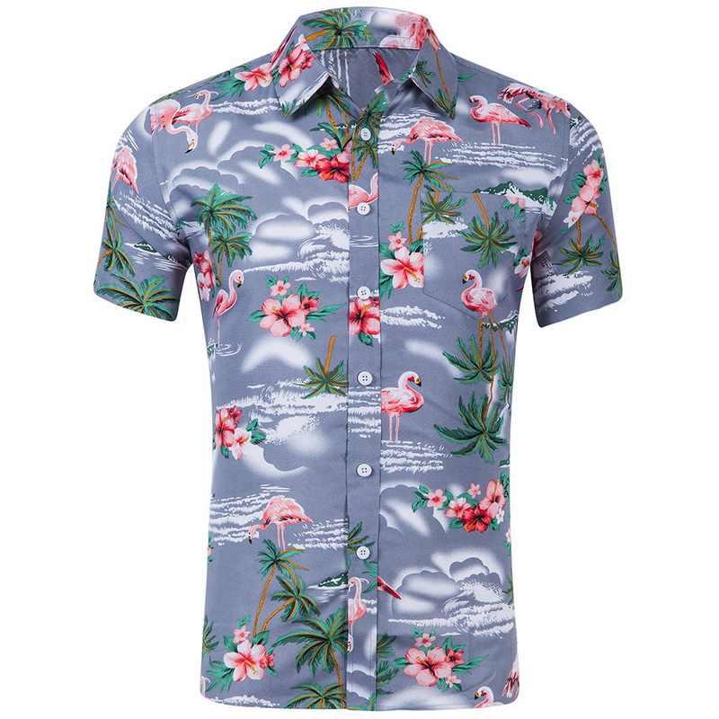 SHUJIN летние Для мужчин короткий рукав гавайская рубашка Мода с цветочным принтом Мужская одежда рубашки для мальчиков повседневные, зауженные Винтаж Для мужчин s Костюмы